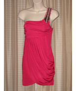 S SAPA One-Shoulder Beaded Hot Pink Event Party Bodycon Drapped Mini Dre... - $25.99