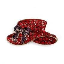 Vintage Red Hat Society Enamel Rhinestone Figural Pin Brooch Pendant Gol... - $12.60