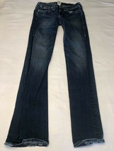 Women's True Religion Becky Blue Jeans Size 28x33 Flare Bottom Missing B... - $19.59