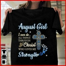 August Girl I Can Do All Things Through Christ Ladies T-Shirt Black Cott... - $18.76+