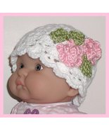 White Newborn Hat For Infant Baby Girls Newborn Girl Pink Small Flowers Sage - $10.00