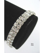 Wedding Silver Clear Rhinestone Bracelet - $12.50