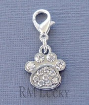 Dangle Dog Paw print Clip On Charm with Lobster Clasp Fit for Link Chain C204 - $3.47