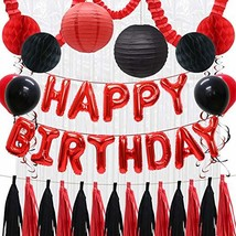 Happy Birthday Balloons Decorations Banner, Red Black Paper Tissue Tasse... - $22.47