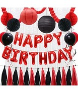 Happy Birthday Balloons Decorations Banner, Red Black Paper Tissue Tasse... - $22.47