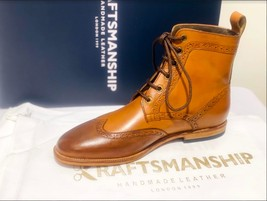 Handmade Men's Brown High Ankle Lace Up Wing Tip Leather Boot image 2