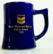 Vintage Chevron Gas Oil Rocky Mountain Safety Blue Coffee Tea Mug Made i... - $28.66