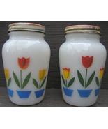 Vintage FIRE KING Tulips Salt Pepper Shakers Original Screw on Metal Lid... - $148.99