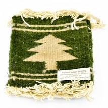 Handmade Zapotec Indian Weaving Hand-Woven Pine Tree Green Wool Coaster Set of 4 image 1
