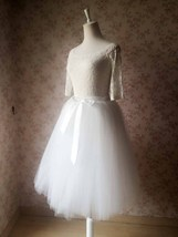 White Tulle Midi Skirt Plus Size White Tulle Skirt Full Tulle Skirt Adult Tutus
