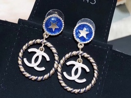 SALE*** Authentic Chanel Classic CC Logo Blue Star Dangle Drop Gold Earrings
