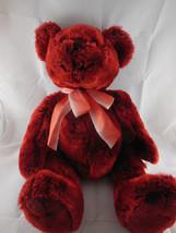 "Vntg Chosun 20"" Teddy Bear Dark red cranberry wine burgundy fiber fill &... - $23.75"