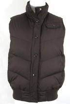 GAP Puffer Brown Down Filled Quilted Vest Womens Medium Snap Up Insulated - $38.65