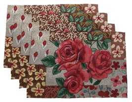 Set 4 Placemats Roses Leaves Flower Theme 13x19 Kitchen Table Fabric Tap... - $9.99