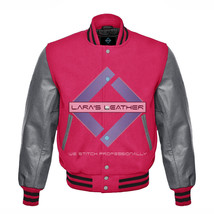 New American Varsity Jacket College Hot Pink Wool with Gray Real Leather... - $86.12+