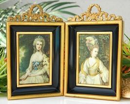 Pair Vintage Miniature Gold Frames Shadow Box Metal Victorian Women - $28.95