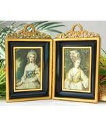 Pair Vintage Miniature Frames Shadow Box Metal Victorian Women - $28.95