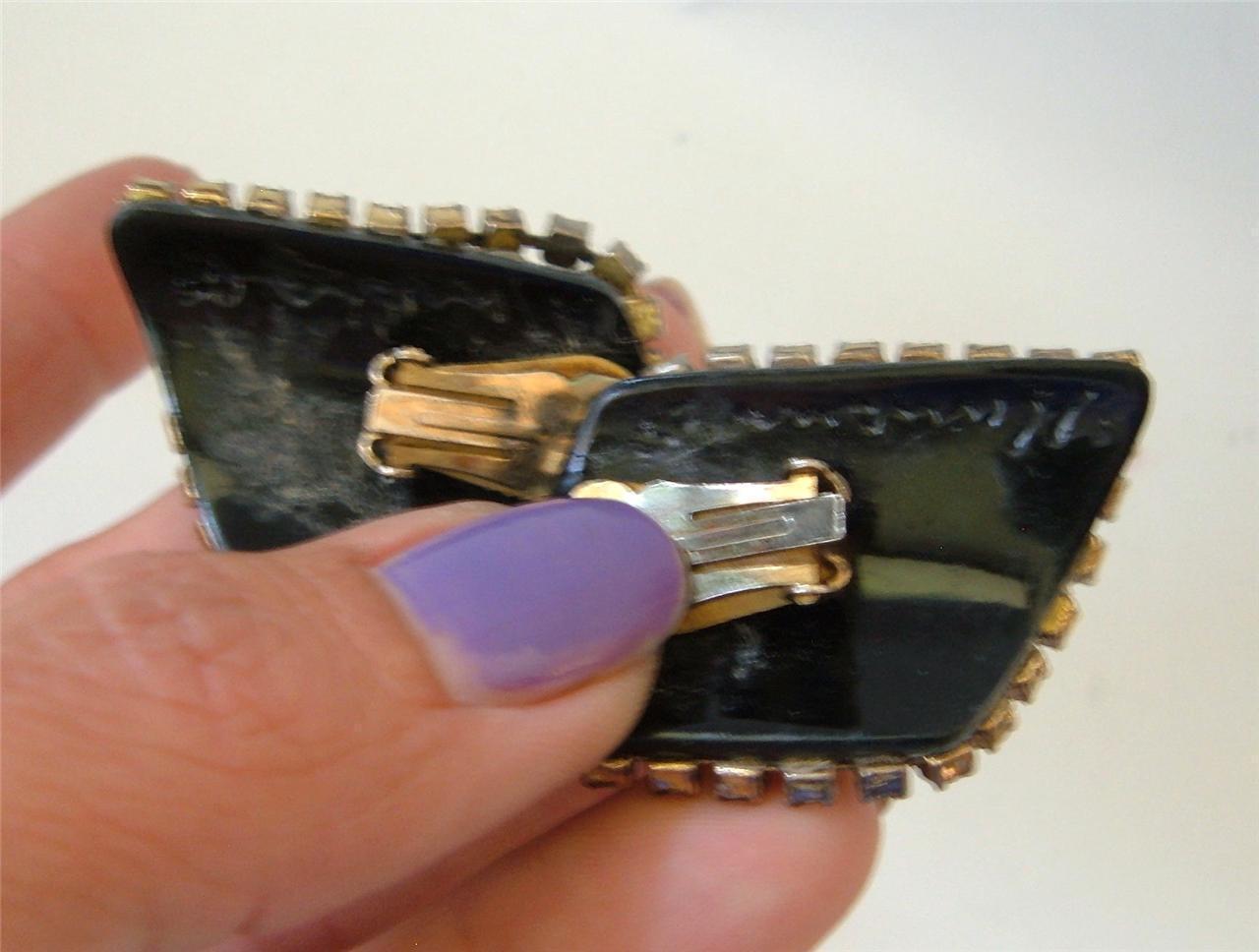Vintage Multi Color Rhinestones Inlay Brooch Earrings Set Signed Byzantine