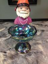 VINTAGE INDIANA BLUE CARNIVAL GLASS CANDLE HOLDER HARVEST GRAPE - $9.99