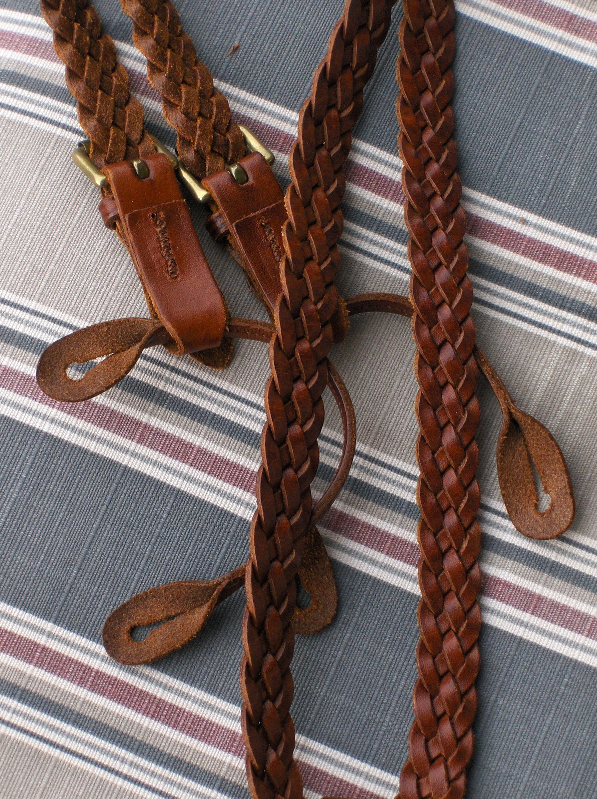 Brooks Brothers Suspenders Mens Braces Brown Braided Woven Leather Button Hook