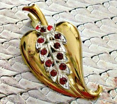 Antique C Clasp Brooch Pin, Art Deco Style Leaf Brooch, Red Paste Rhines... - $18.80