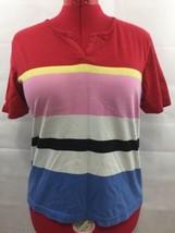 Liz Claiborne Knit Top T-Shirt Multi Color Striped Cotton Short Sleeve S... - $12.99