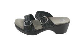 Dansko Leather Dbl Buckle Sandals Sophie Black Metallic 38=7.5-8USM NEW ... - $95.02