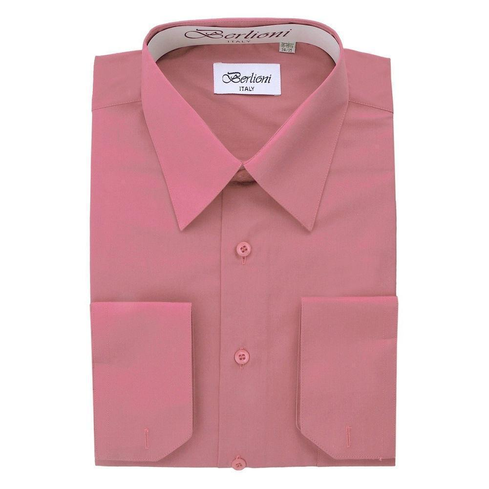 BERLIONI ITALY MEN'S PREMIUM FRENCH CONVERTIBLE CUFF SOLID DRESS SHIRT ROSE