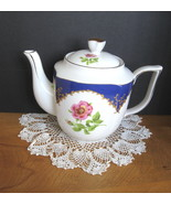 Floral Teapot - Pink Flowers with Blue Trim - Four (4) Available - $20.00