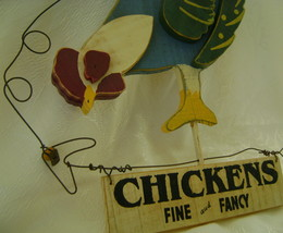 Wall Hanging, Wooden Country Chicken image 1