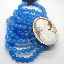 925 STERLING SILVER BRACELET BEAUTIFUL BIG LADY FLOWER CAMEO & BLUE JADE, ITALY image 5
