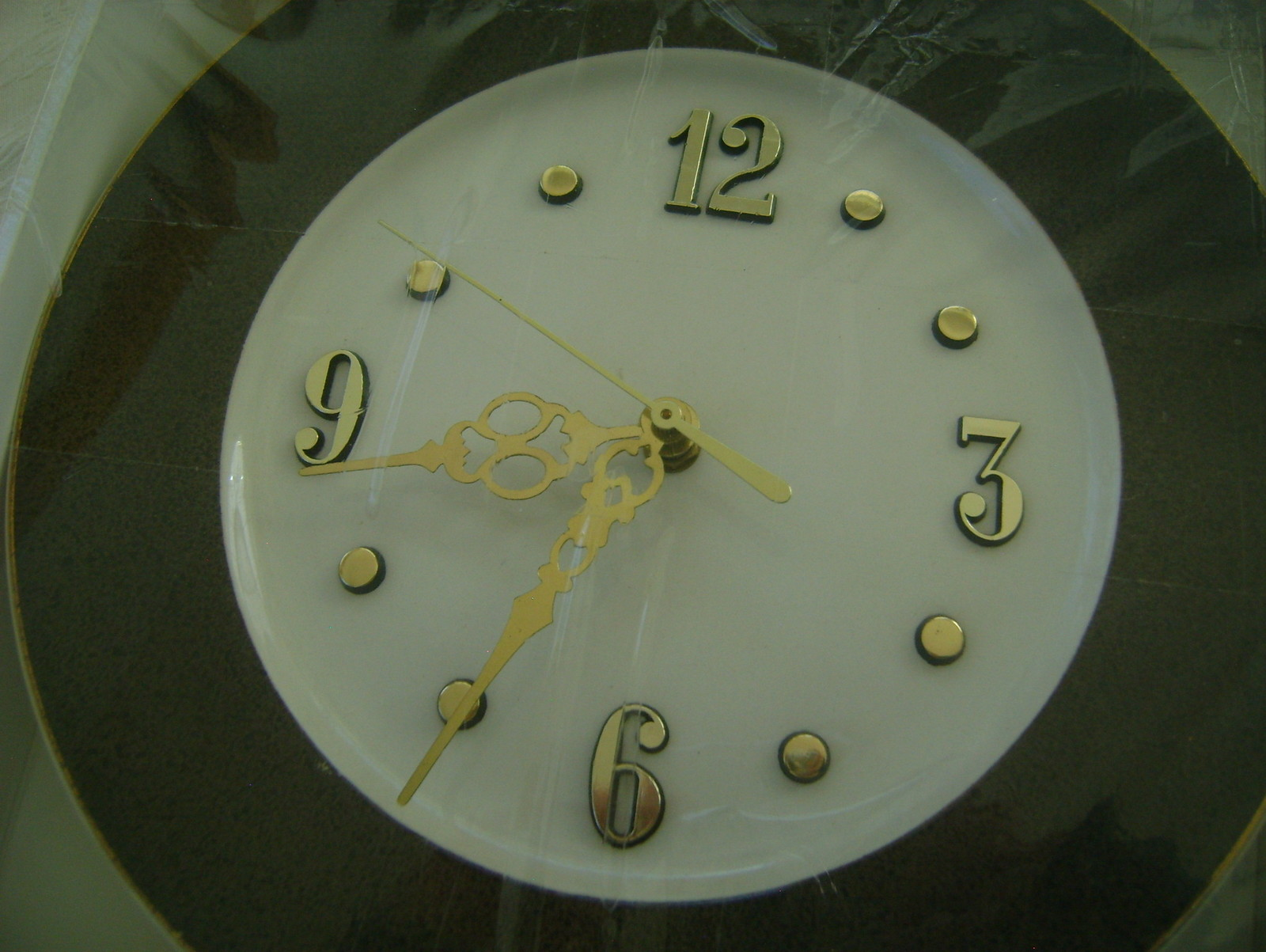 Clock Plate, Brown & White
