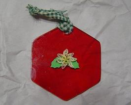 Paper quilled Red glass and  White Poinsettia Ornament, Handcrafted - $9.99