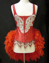 L-Red & Silver Custom Carnival Showgirl Saloon Girl Moulin Burlesque Cos... - $129.99