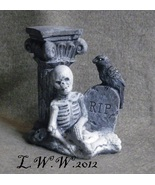 Resting Skeleton Raven Column R.I.P. Halloween Cement Tombstone figure - $3.99