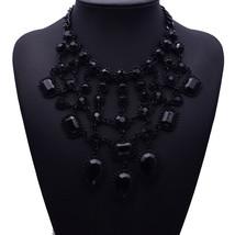 Design Vintage Necklaces & Pendants Black Branch Crystal Statement Neckl... - $12.42