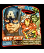 Marvel Avengers Art Set Captain America Iron Man Hulk 40 Pieces w/ Carry... - $14.83