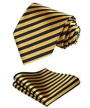 BIYINI Mens Tie Stripe Necktie and Pocket Square Set for Wedding Party Yellow