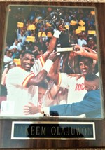 Hakeem Olajuwon Autographed Plaque (1994MVP)--very good but age shows a bit - $17.99