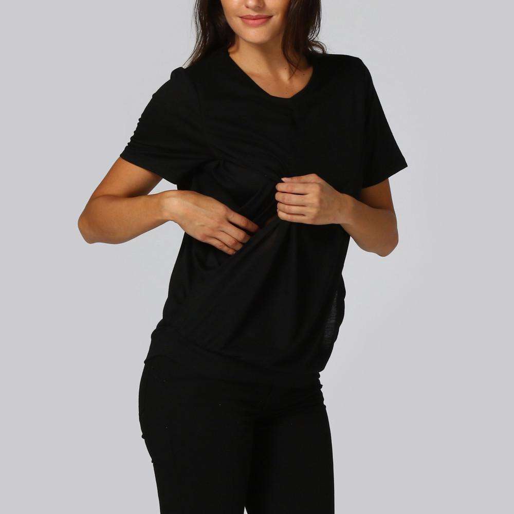 Women Baby Nursing Wrap Top Wear Short Sleeves O Neck Double Layer T Shirt Cloth