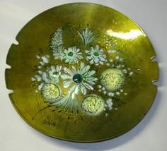 Mid Century Sascha B Enamel on Copper Large Floral Ashtray - $15.00