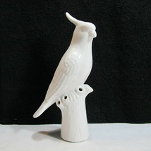 Vintage Bud Vase White Silhouette Cockatiel Cardinal Mountain Blue Jay S... - £17.55 GBP