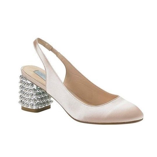 Betsey Johnson Champagne Silver & Pearl Heel Close Toe Shoe Sz 8.5 NWOB