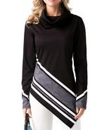 Black Asymmetric Hemline Printed Cowl Neck Sweatshirt  - $26.62