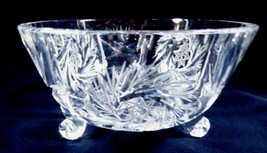 "VTG Footed Clear Crystal bowl pinwheel pattern serving dish 5.5"" X 3.25"" - $41.58"