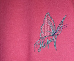 Pink/Teal Butterfly HOPE Crew XL Hot Pink Sweatshirt Cancer Awareness Un... - $25.45