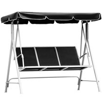 3 Persons Patio Powder Finish Canopy Deck Swing Bench - $161.68