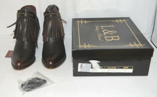Lucky And Blessed SH 11 Dark Brown Leather Boots Fringe Metal Studs Size 7