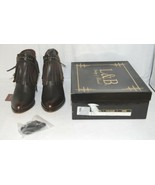 Lucky And Blessed SH 11 Dark Brown Leather Boots Fringe Metal Studs Size 7 - $149.00