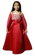 Bridesmaid Flower Girls Party Dress with Shawl Pink Burgundy 2 to 14 Years - $20.01+